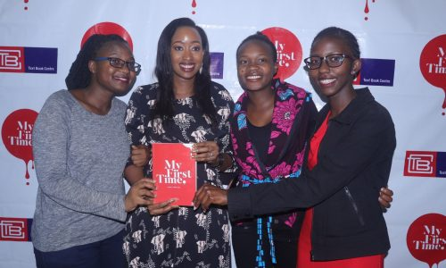 Juliet MWangi(farthest right) sharing a moment with her mentor, Janet Mbugua after the Public Lecture.